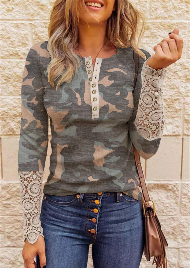 Camouflage Button Lace Splicing Blouse