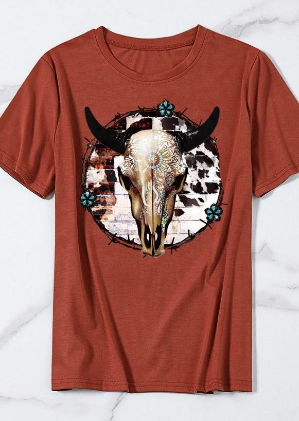 SteerSkull Floral Western T-ShirtTee - Brick Red