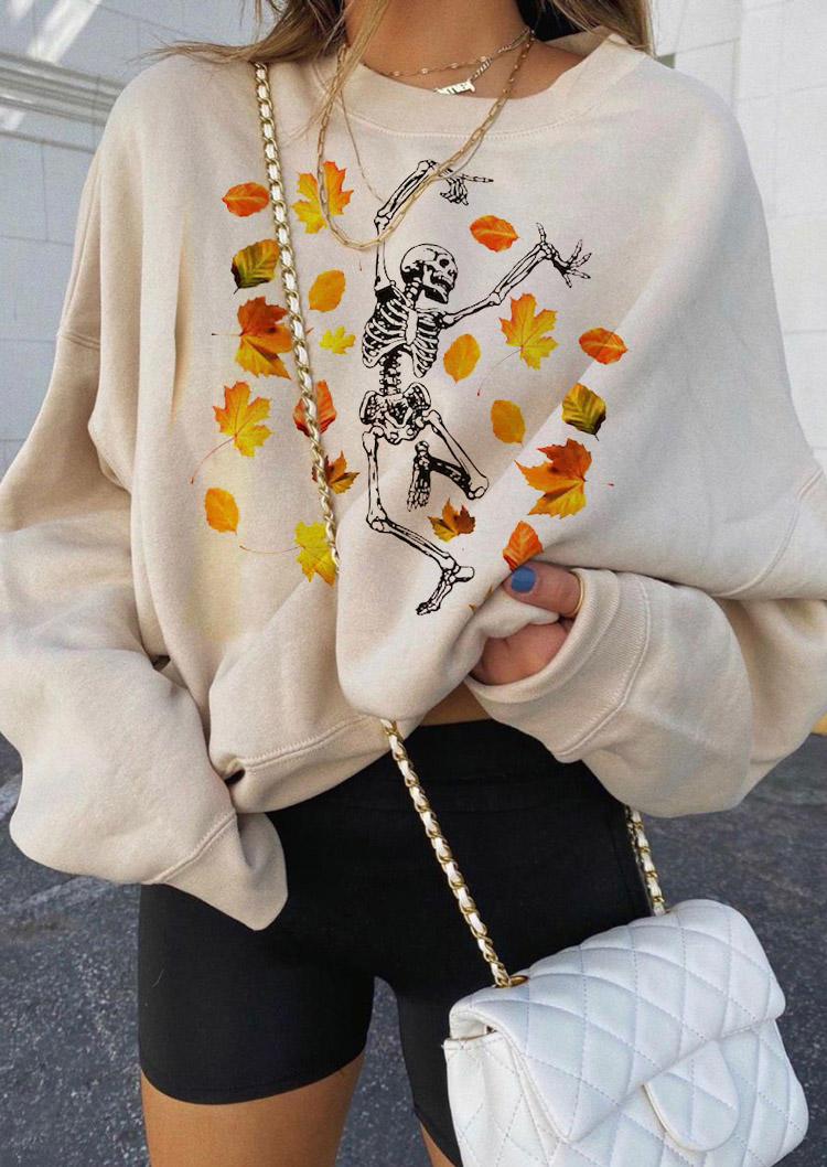 Maple Leaf Skeleton O-Neck Sweatshirt - Light Khaki