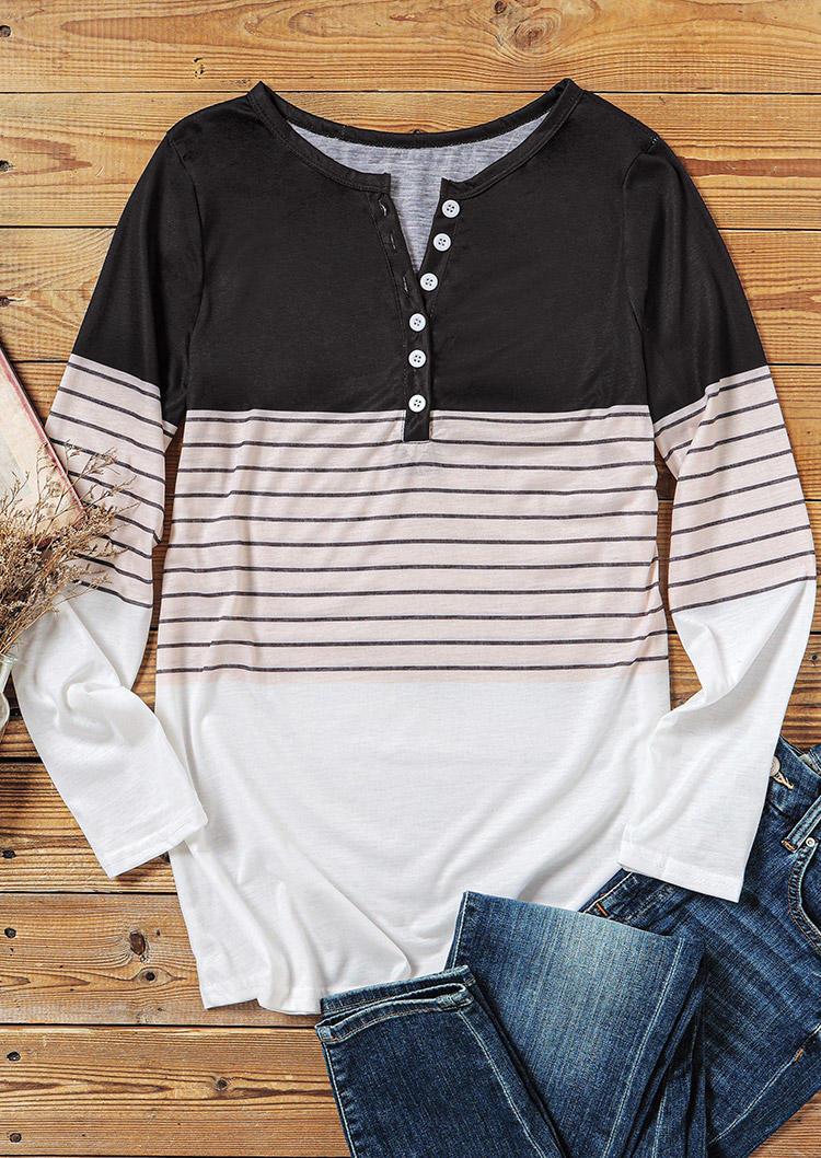 Striped Color Block Button Long Sleeve Blouse