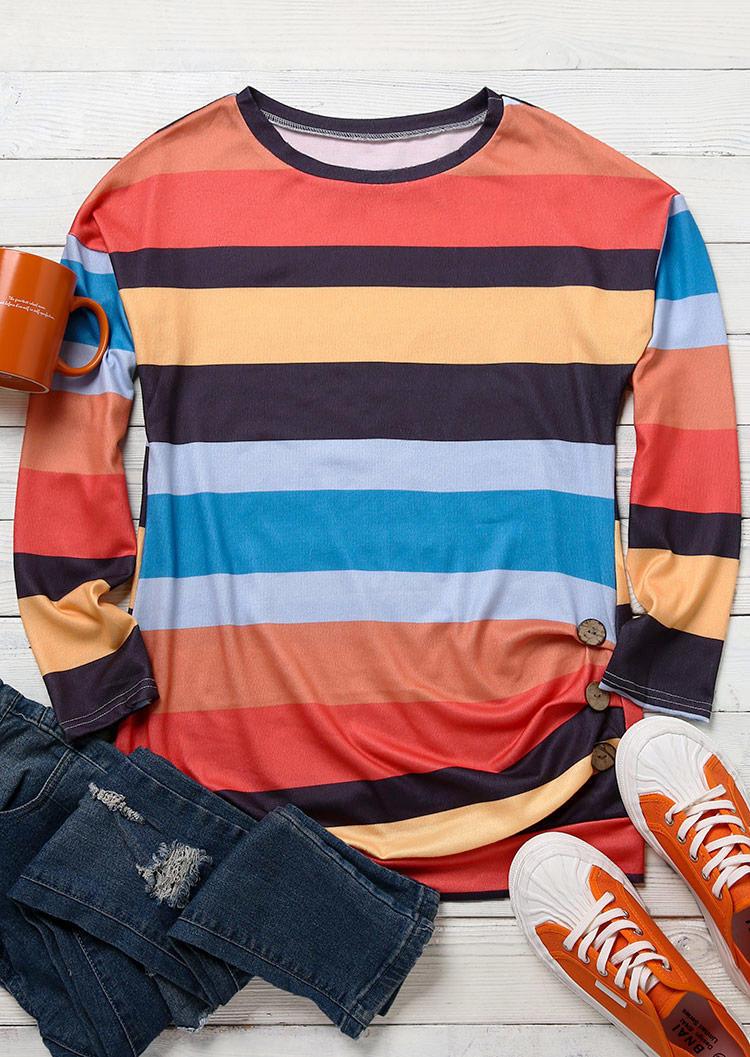 Striped Color Block Button LongSleeve Blouse