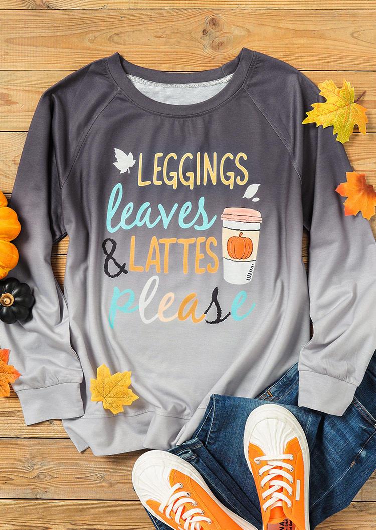 Leggings Leaves Lattes Please Pumpkin Gradient Sweatshirt - Gray