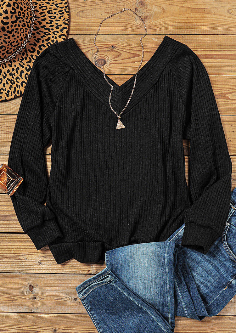 Raglan Sleeve V-Neck Sweater - Black