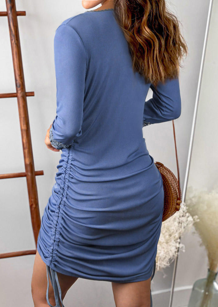 Lace Splicing Button Drawstring Ruched Mini Dress - Blue