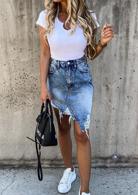 Pocket Ripped Hole Frayed Hem Irregular Denim Skirt - Blue