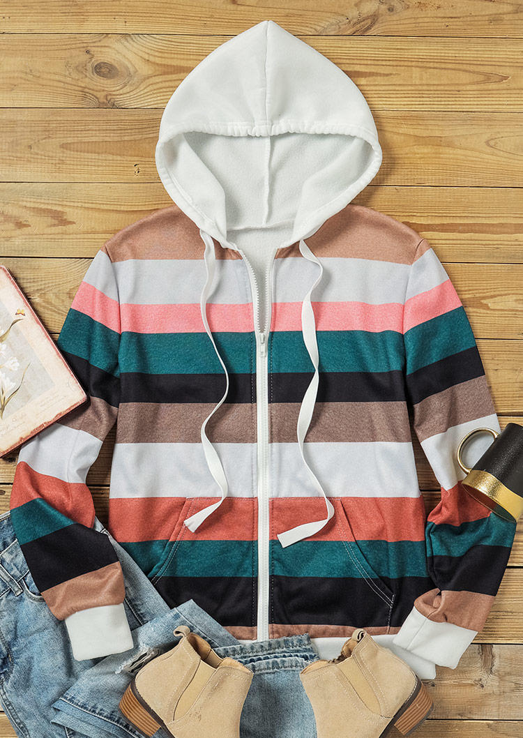 Color Block Striped Pocket Drawstring Hooded Coat
