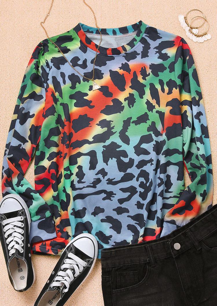 Colorful Leopard LongSleeve Blouse