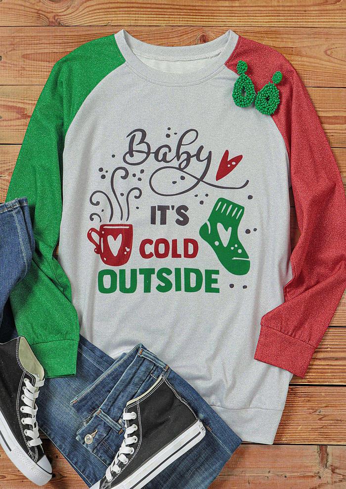 Baby It's Cold Outside Heart Raglan Sleeve T-Shirt Tee - Light Grey