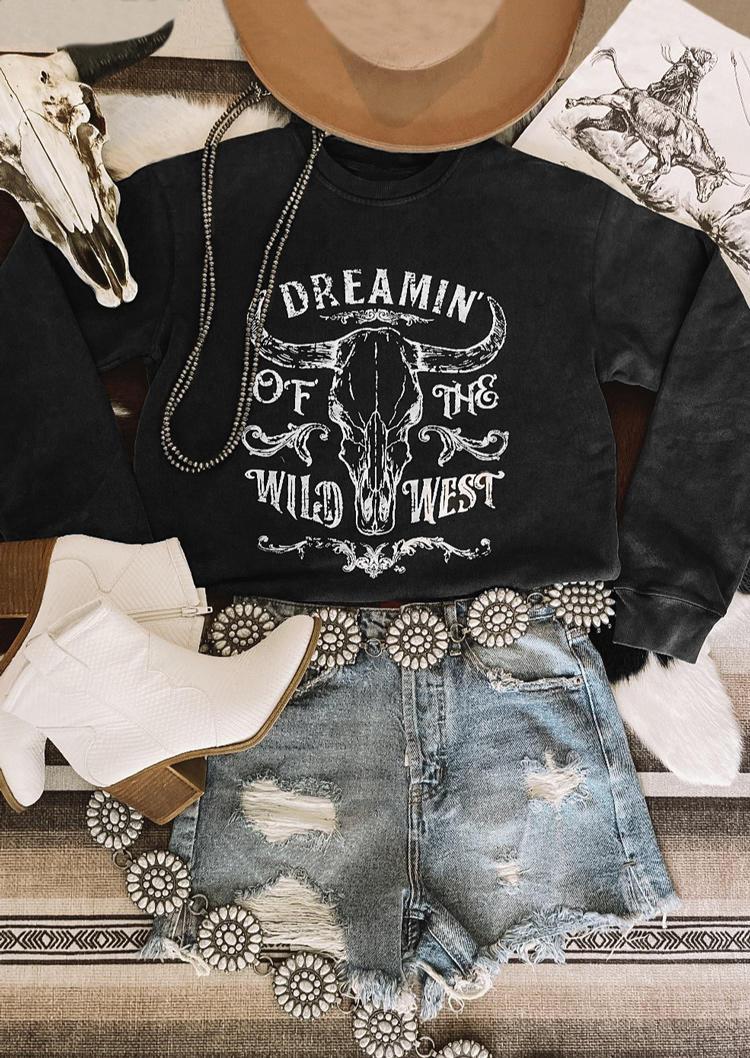 Dreamin Of The Wild West SteerSkull Sweatshirt - Black