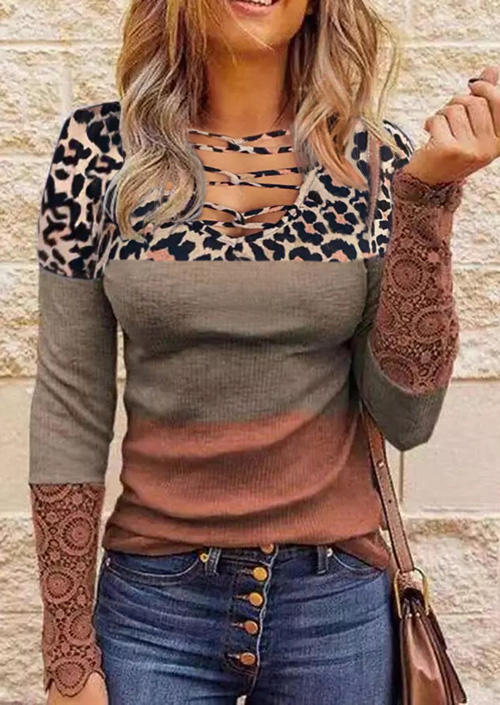 Lace Leopard Splicing Color Block Hollow Out Blouse