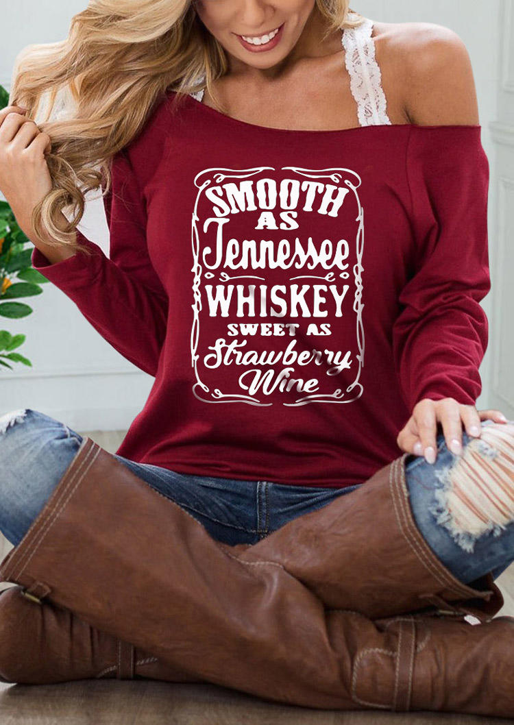 Smooth As Tennessee Whiskey Pullover Sweatshirt - Brick Red