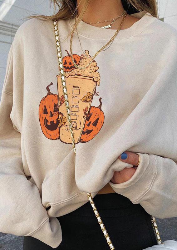 Halloween Pumpkin Face Pullover Sweatshirt - Black