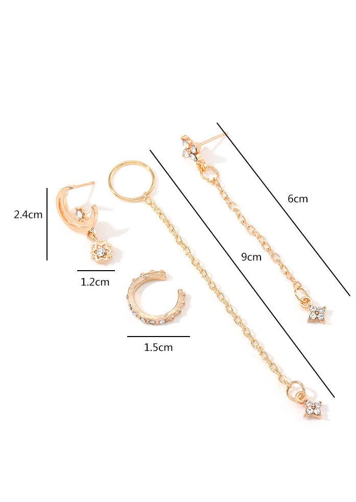 4Pcs Simple Star Rhinestone Earrings Set