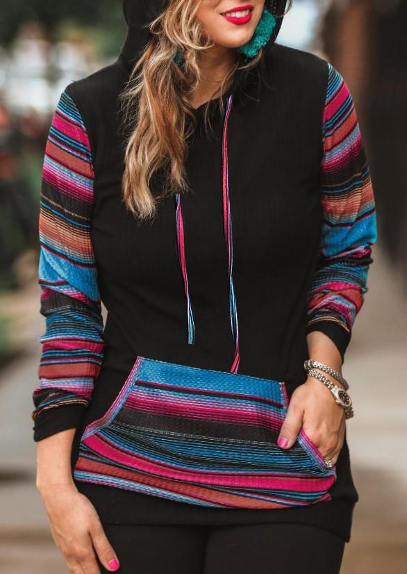 Colorful Striped Kangaroo Pocket Hoodie - Black