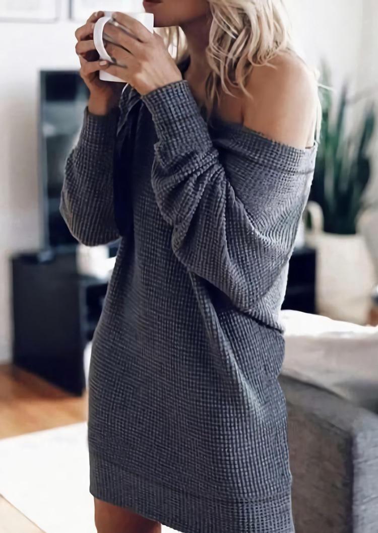 Waffle Slash Neck LongSleeve  Mini Dress - Dark Grey