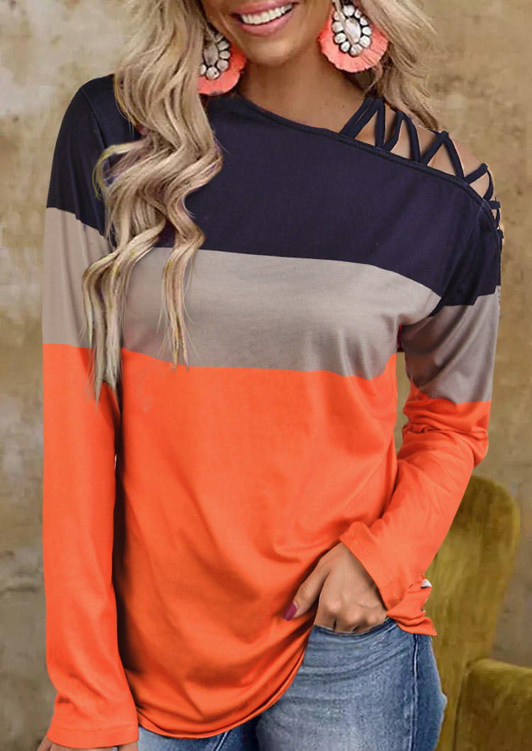 Color Block Criss-Cross One Sided Cold Shoulder Blouse