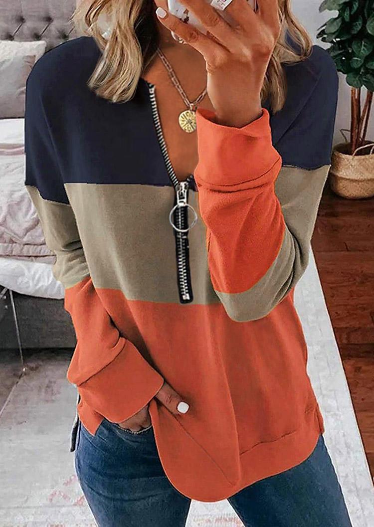 Color Block Zipper Long Sleeve Sweatshirt