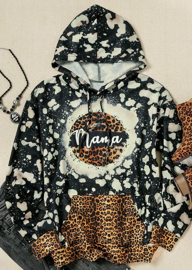 Mama Leopard Kangaroo Pocket Splicing Bleached Hoodie