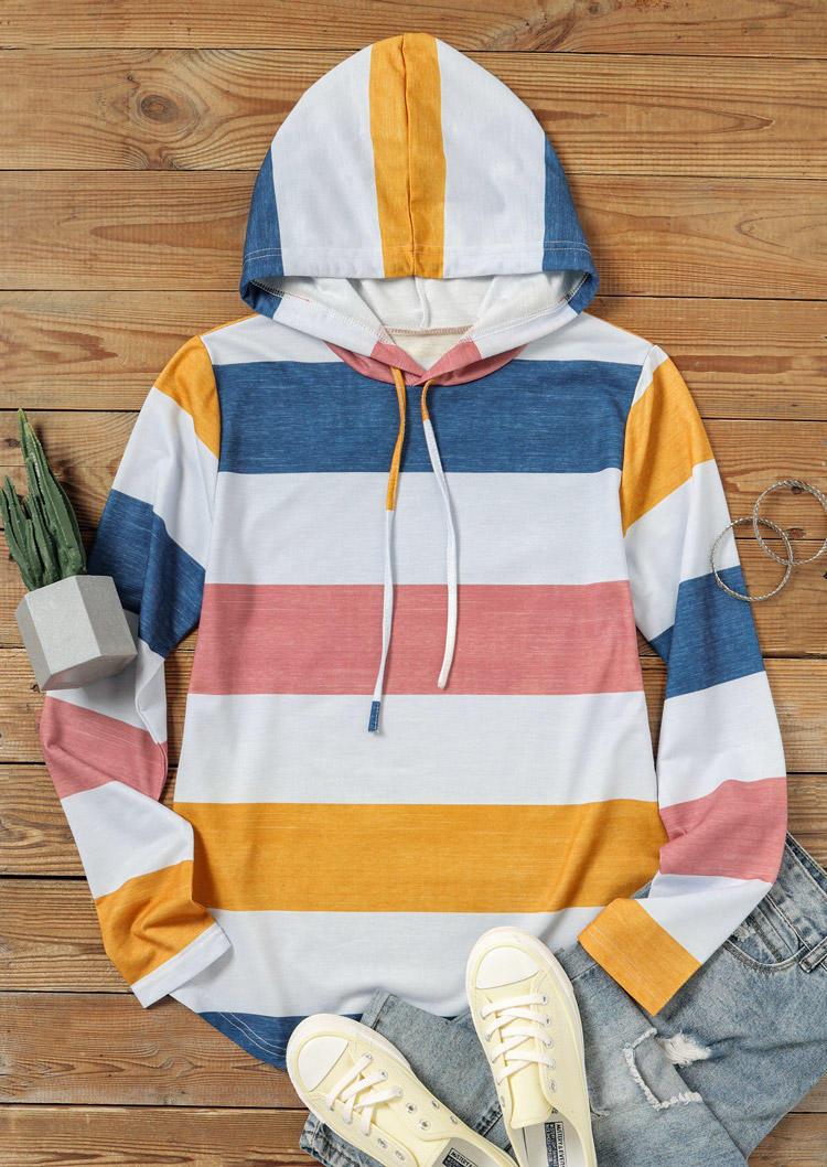 Color Block Drawstring LongSleeve Hoodie