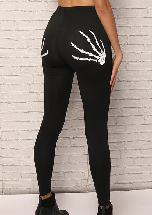 Halloween Skeleton Hollow Out Skinny Leggings - Black