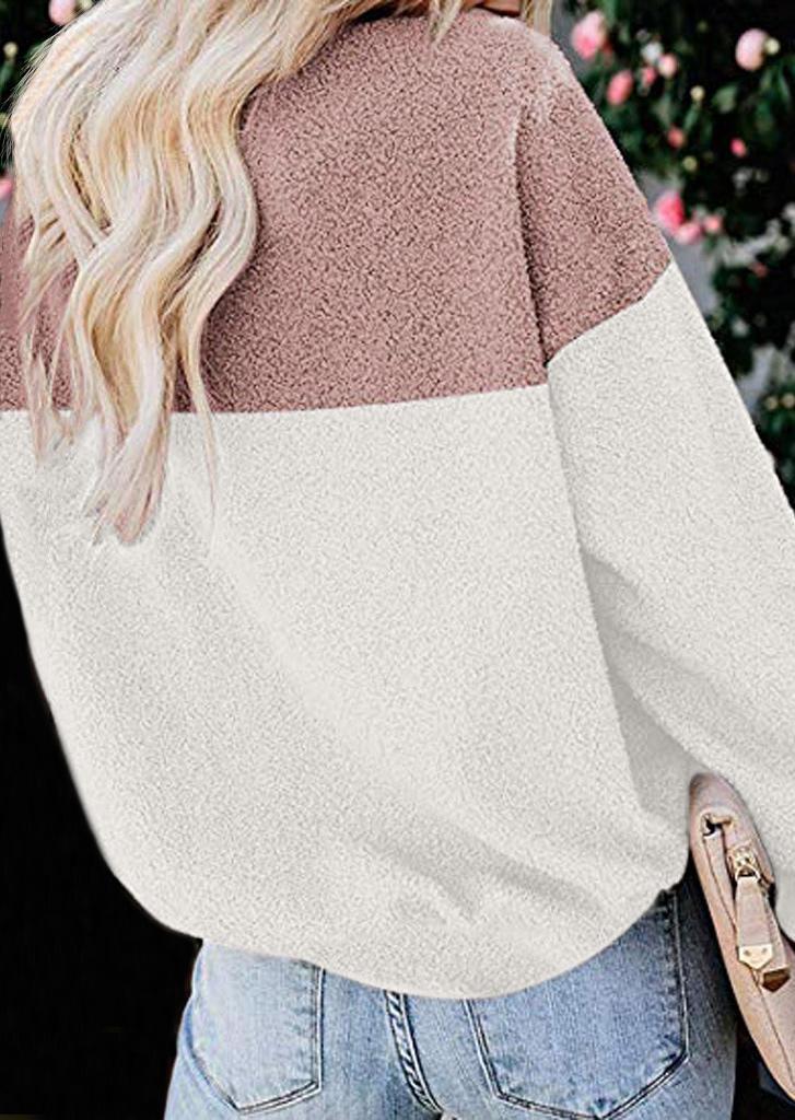 Fuzzy Color Block Sweatshirt - Pink