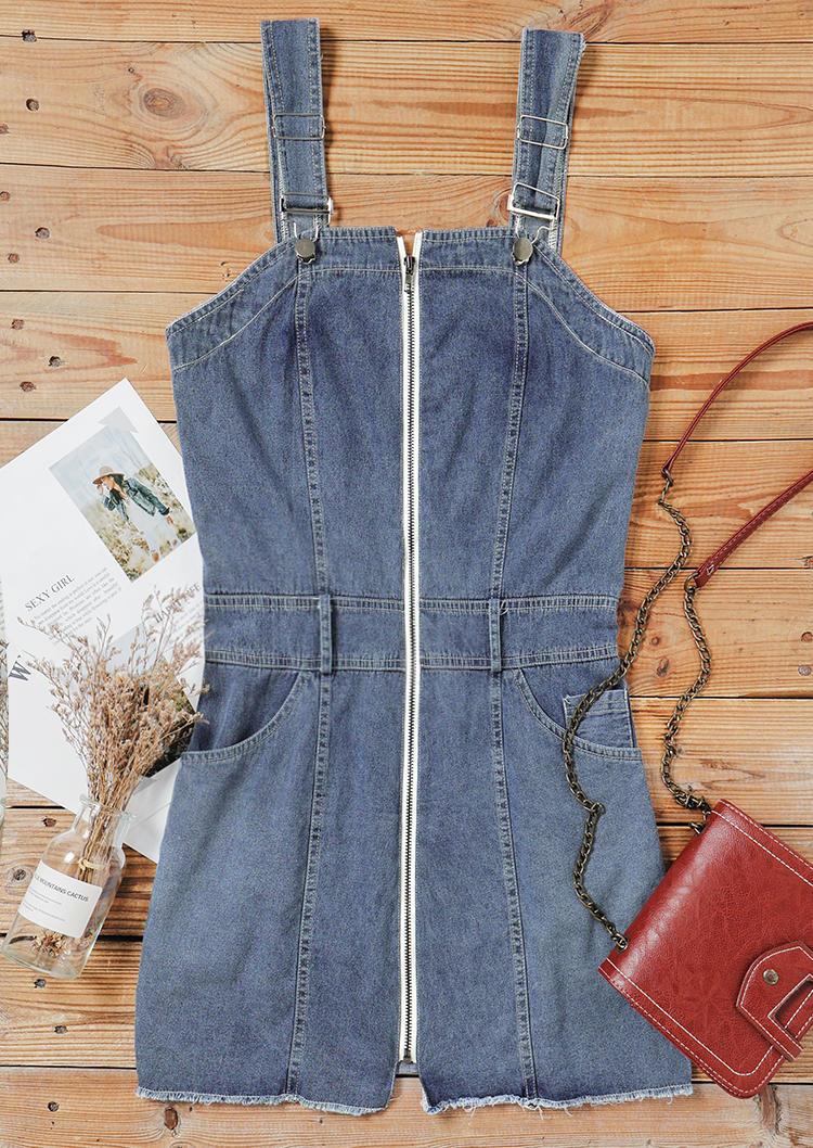 Pocket Zipper Overall Denim Mini Dress - Blue