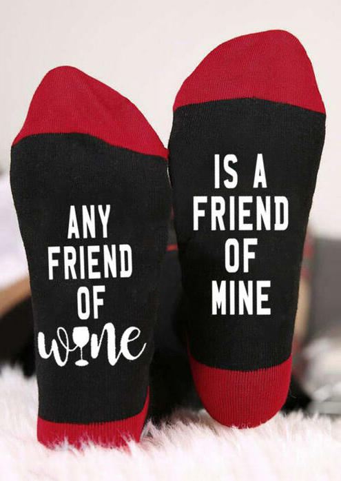 Any Friend Of Wine Is A Friend Of Mine Socks, Red, 516986