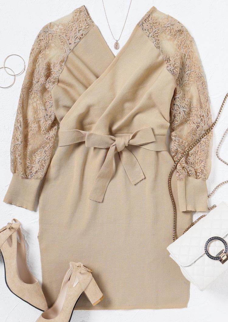 Lace Splicing Wrap Tie Slit Sweater Mini Dress - Khaki