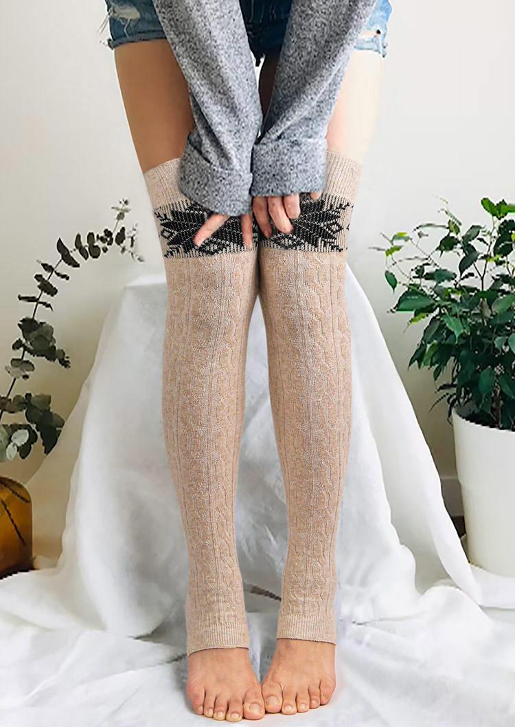 Geometric Over Knee High Footless Leg Warmers Socks