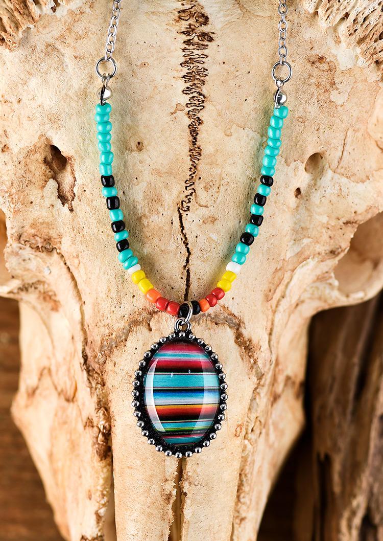 Serape Striped Colorful Beading Oval Pendant Necklace