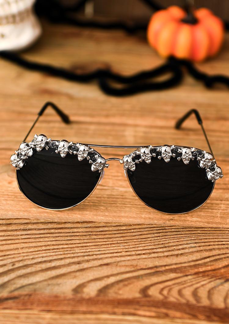 Halloween Skull Funny Aviator Sunglasses