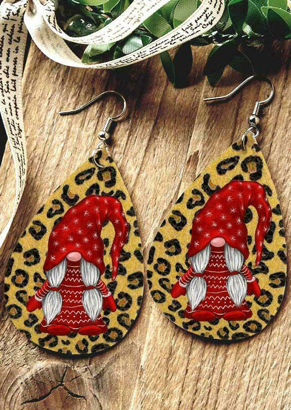 Christmas Double-Sided Gnome Leopard Water Drop Earrings