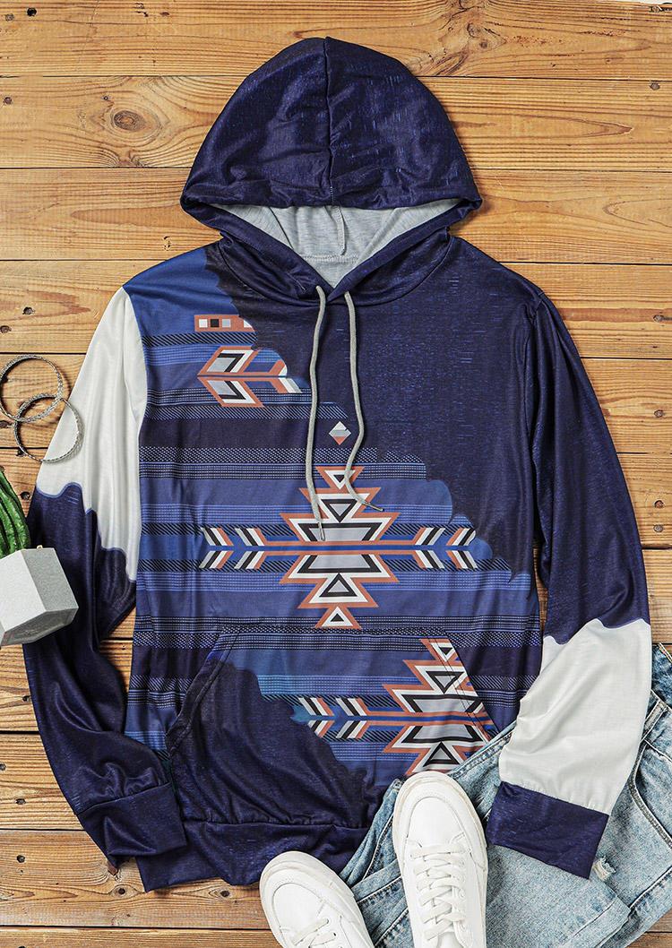Aztec Geometric Color Block Kangaroo Pocket Hoodie - Blue