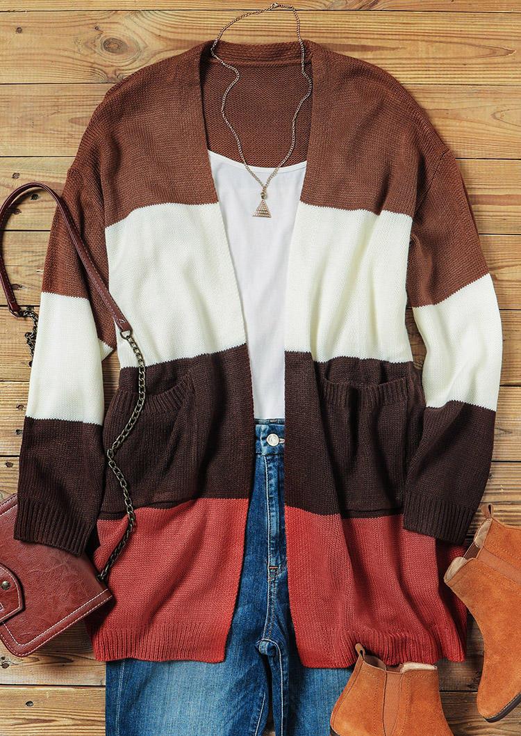Color Block Pocket Long Sleeve Cardigan