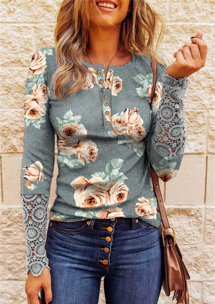 Floral Lace Splicing Button Blouse - Gray