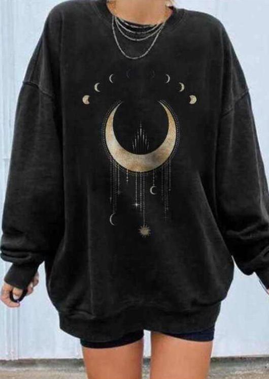 Moon Star Loose Sweatshirt - Black