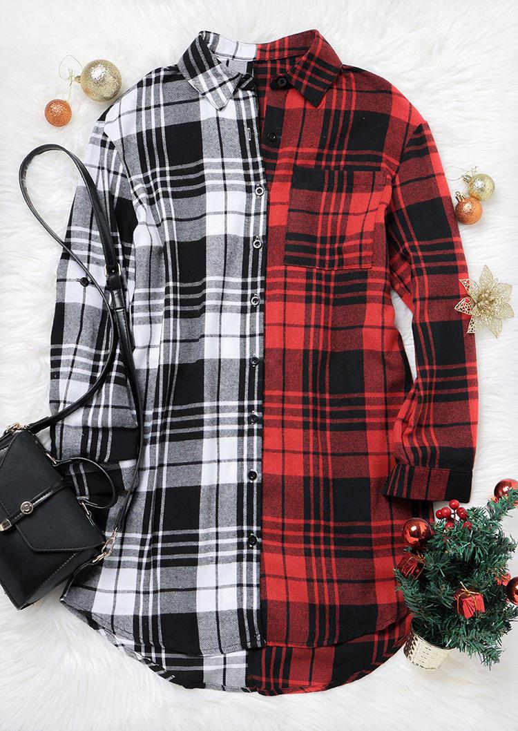 Plaid Color Block Pocket Button Shirt Mini Dress