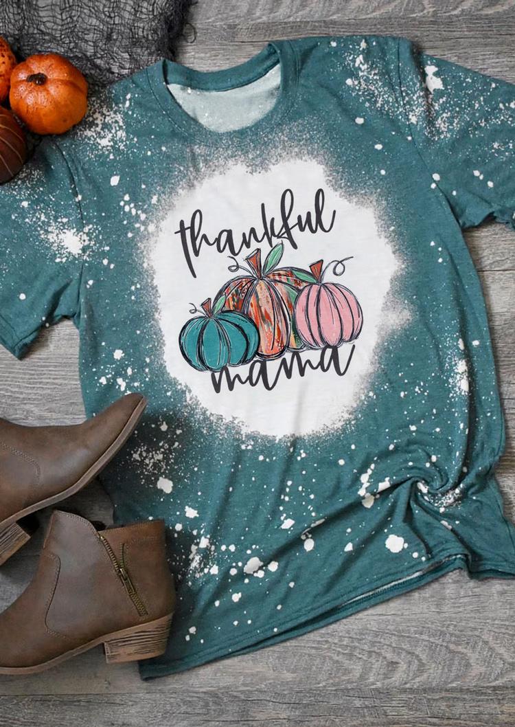 Thankful Mama Pumpkin Bleached T-ShirtTee - Cyan