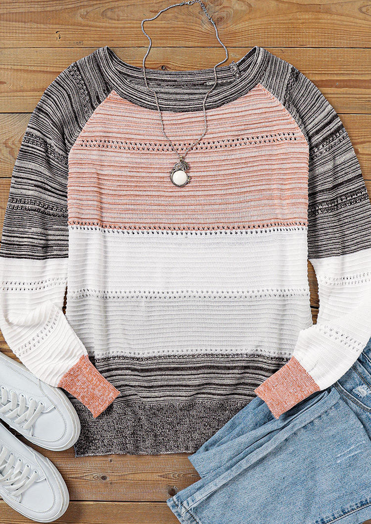 Hollow Out Color Block Striped Sweater - Gray