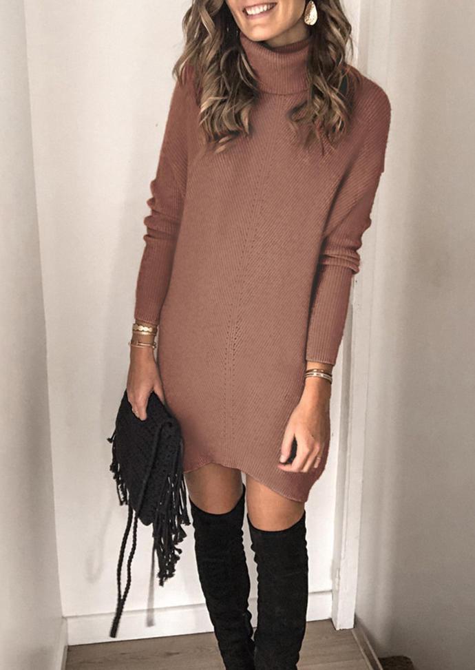 Turtleneck LongSleeve Sweater Mini Dress - Light Brown