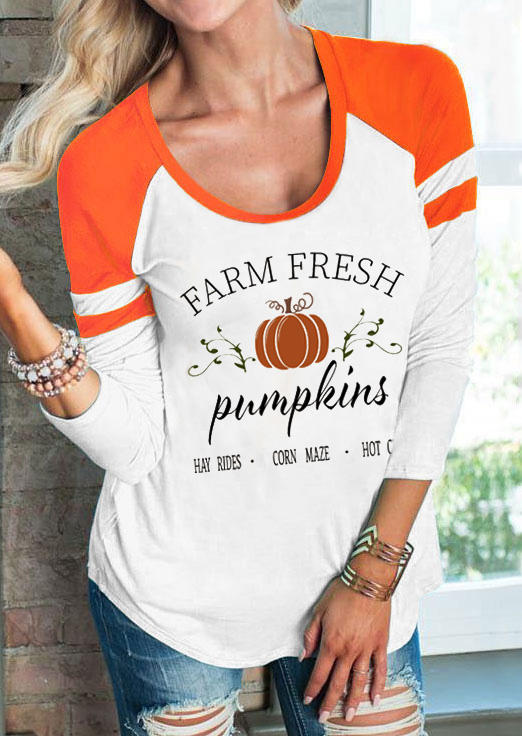 Farm Fresh Pumpkins LongSleeve Blouse - White