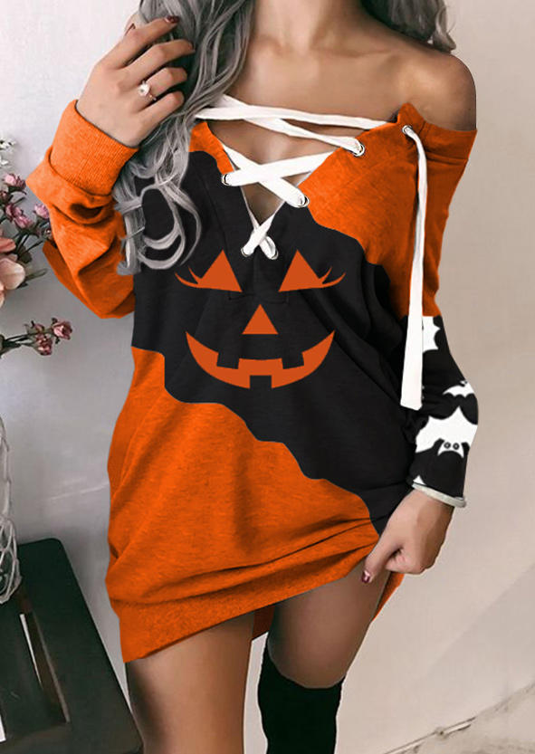 Halloween Pumpkin Face Lace Up Mini Dress
