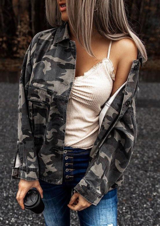 Camouflage Button Pocket LongSleeve Coat