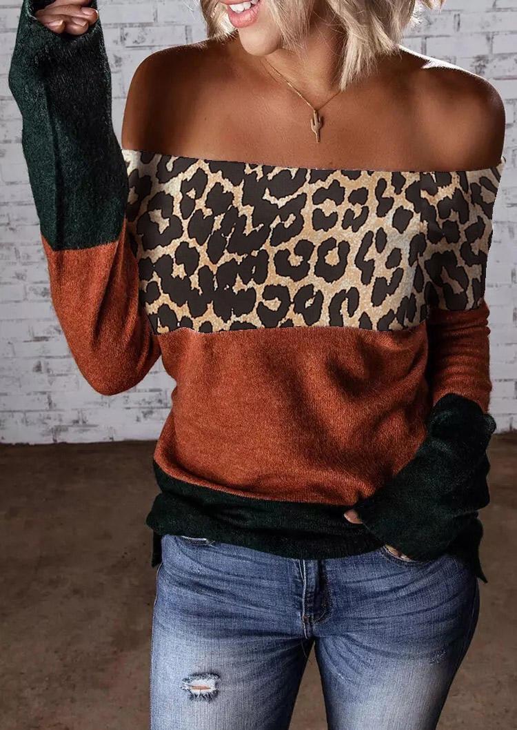 Color Block Leopard OffShoulder Blouse
