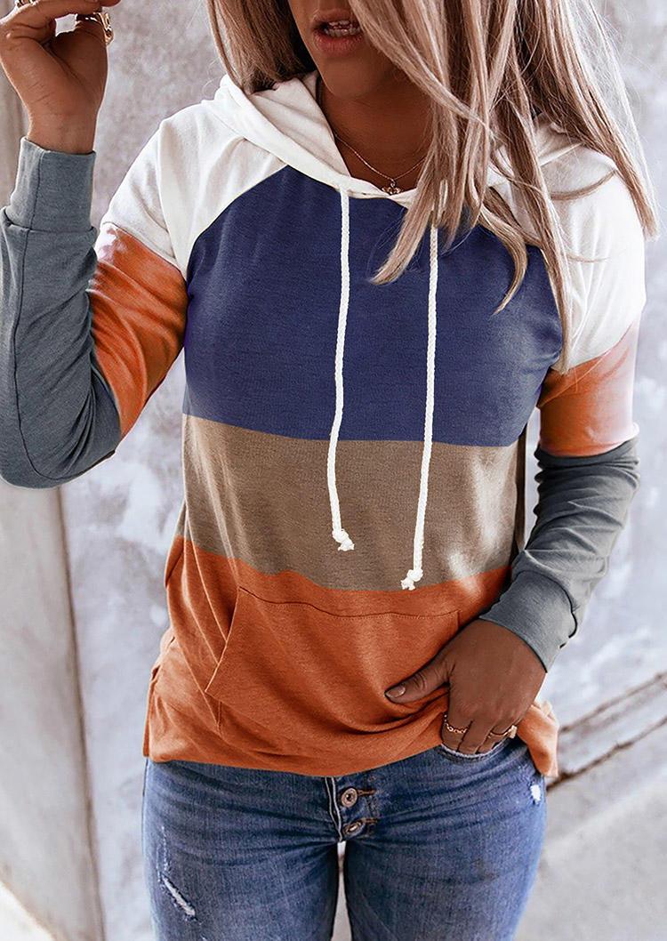 Color Block Drawstring Kangaroo Pocket Hoodie