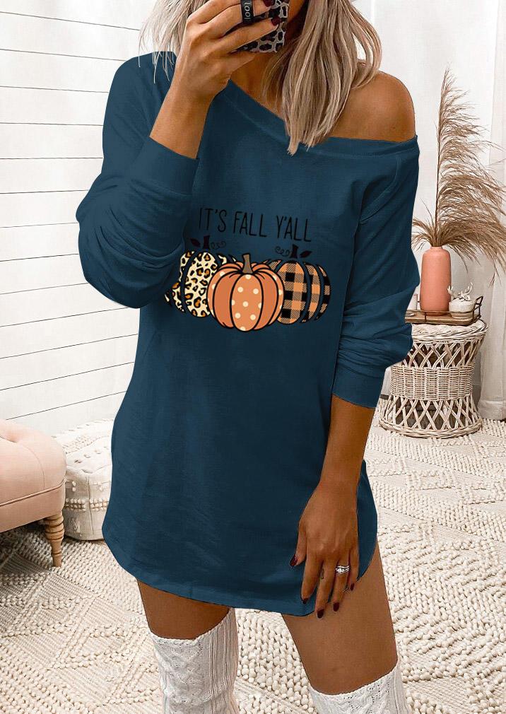 It's Fall Y'all Leopard Plaid Pumpk Mini Dress - Green