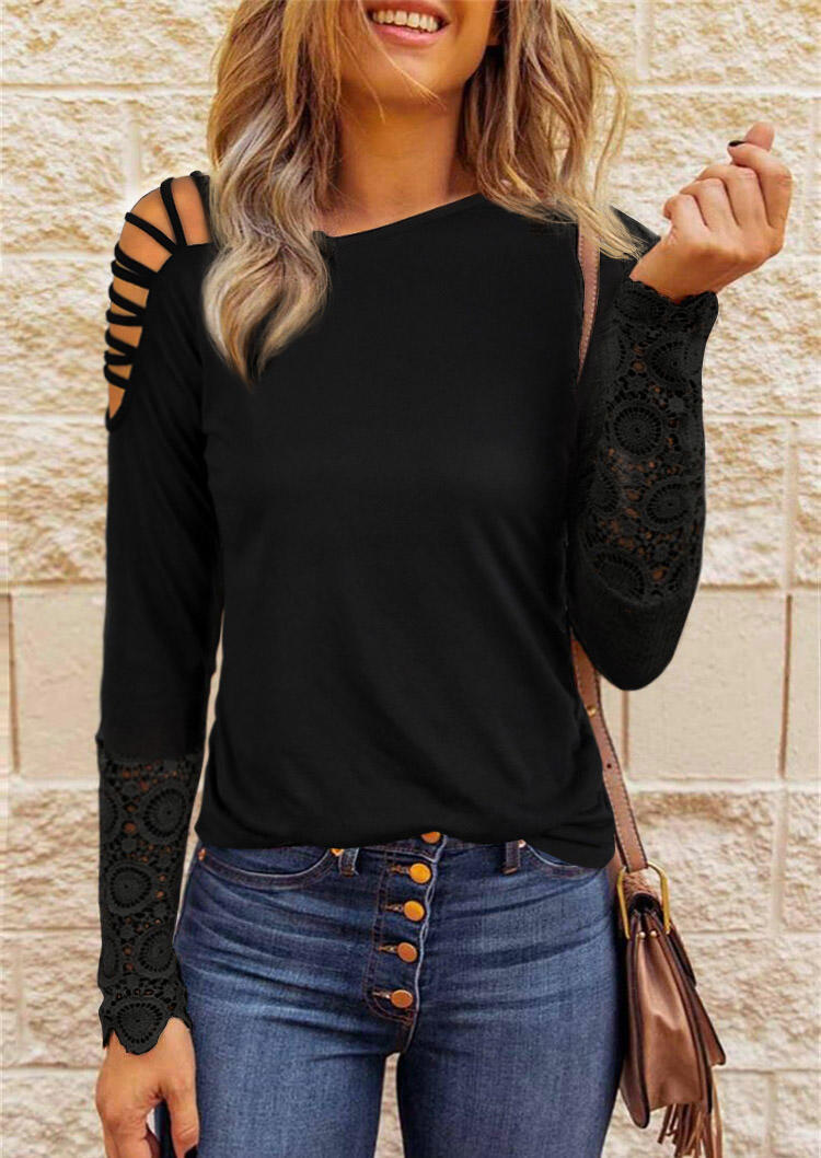 Lace Criss-Cross One Sided Cold Shoulder Blouse - Black