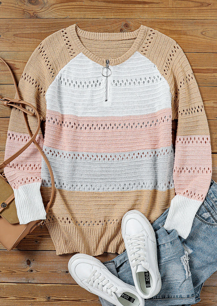 Zipper Color Block Knitted V-Neck Sweater