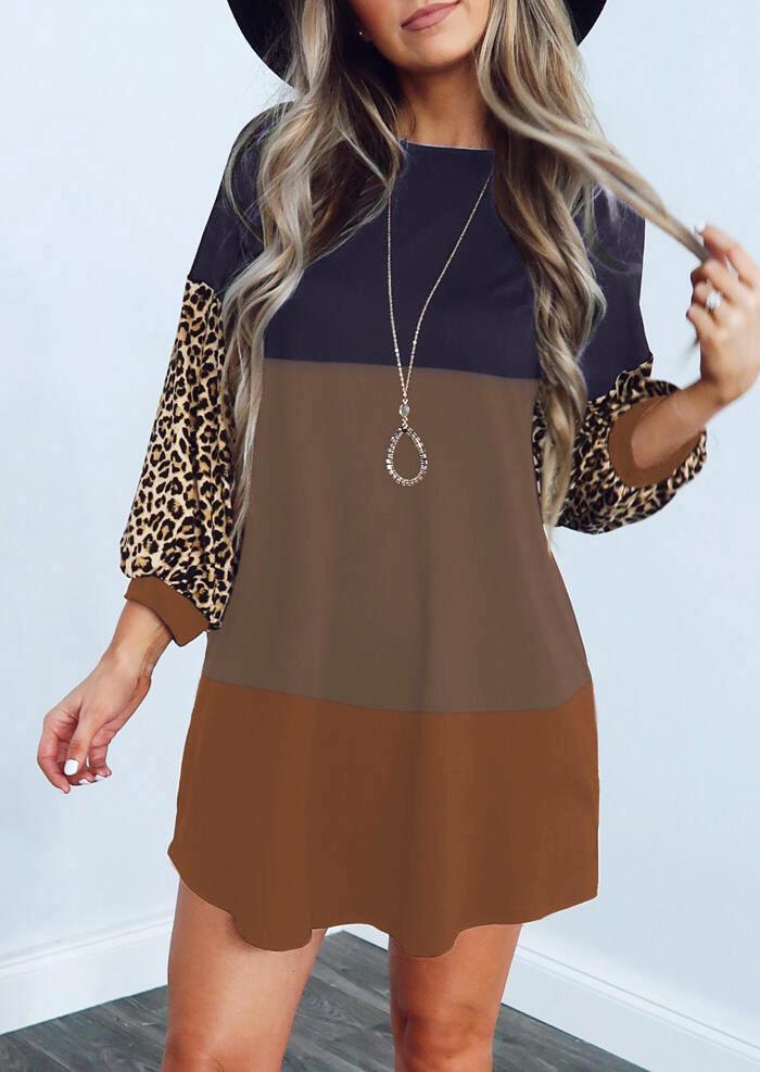 Leopard Color Block Long Sleeve Mini Dress