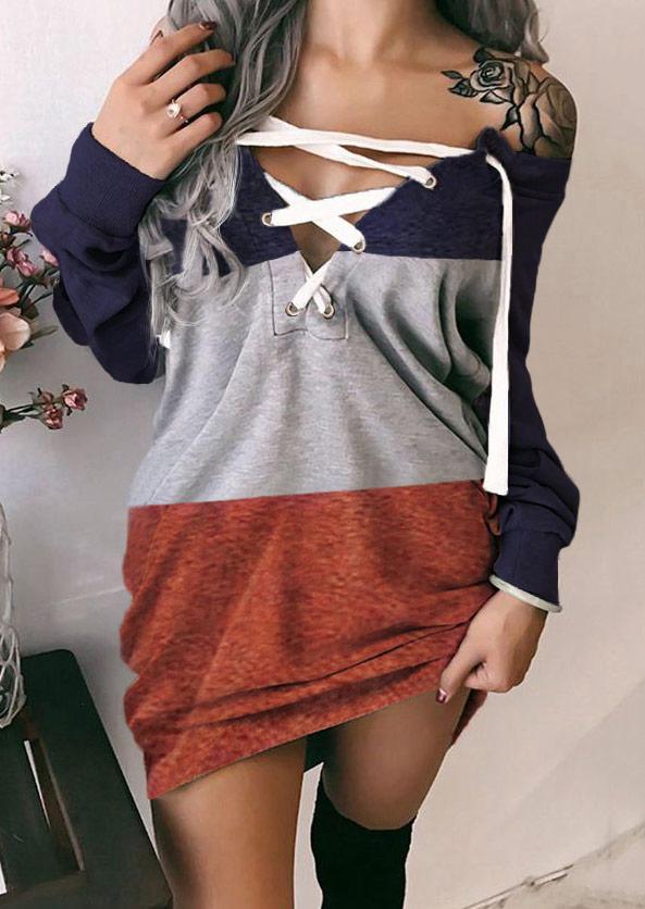 Color Block Lace Up Mini Dress